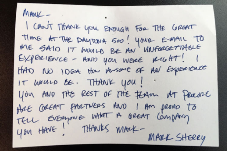 Handwritten thank you note from a Procore guest